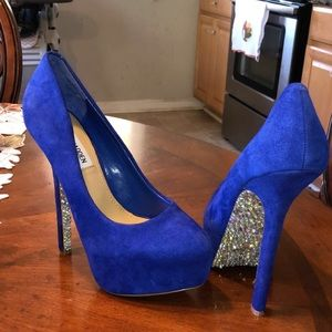 Blue suede high heel platforms bedazzled